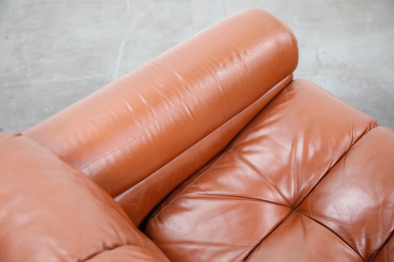 Cognac Leather 'Bounty' Loveseat by L. Davanzati for The Pace Collection, 1980s  For Sale 10
