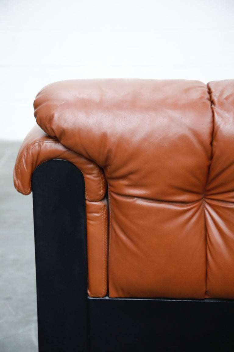 Cognac Leather 'Bounty' Loveseat by L. Davanzati for The Pace Collection, 1980s  For Sale 12