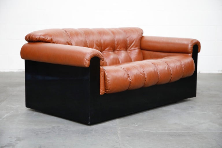 Post-Modern Cognac Leather 'Bounty' Loveseat by L. Davanzati for The Pace Collection, 1980s  For Sale