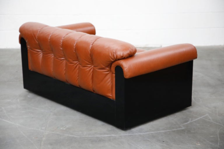 Cognac Leather 'Bounty' Loveseat by L. Davanzati for The Pace Collection, 1980s  In Good Condition For Sale In Los Angeles, CA
