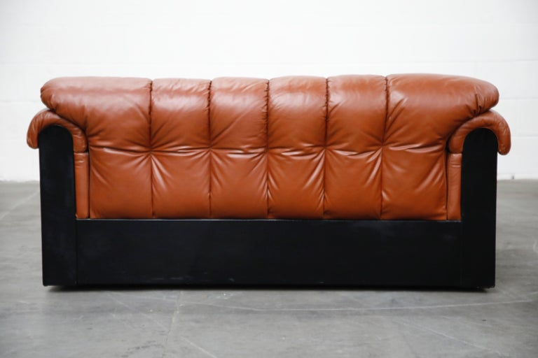 Late 20th Century Cognac Leather 'Bounty' Loveseat by L. Davanzati for The Pace Collection, 1980s  For Sale
