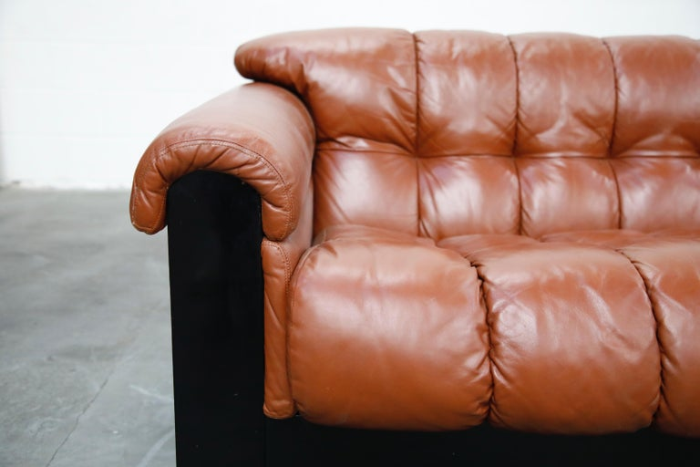 Cognac Leather 'Bounty' Loveseat by L. Davanzati for The Pace Collection, 1980s  For Sale 1