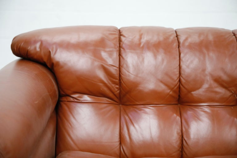 Cognac Leather 'Bounty' Loveseat by L. Davanzati for The Pace Collection, 1980s  For Sale 2