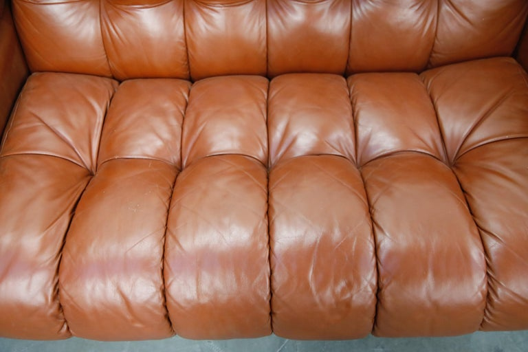 Cognac Leather 'Bounty' Loveseat by L. Davanzati for The Pace Collection, 1980s  For Sale 3