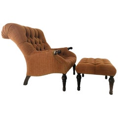 Tufted English Chair with Matching Ottoman