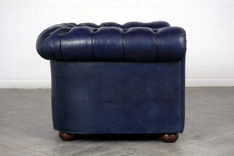 Carved Tufted English Chesterfield Leather Club Chair For Sale
