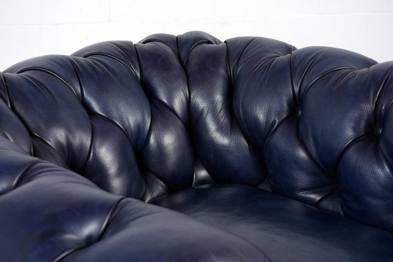 Tufted English Chesterfield Leather Club Chair In Good Condition For Sale In Los Angeles, CA