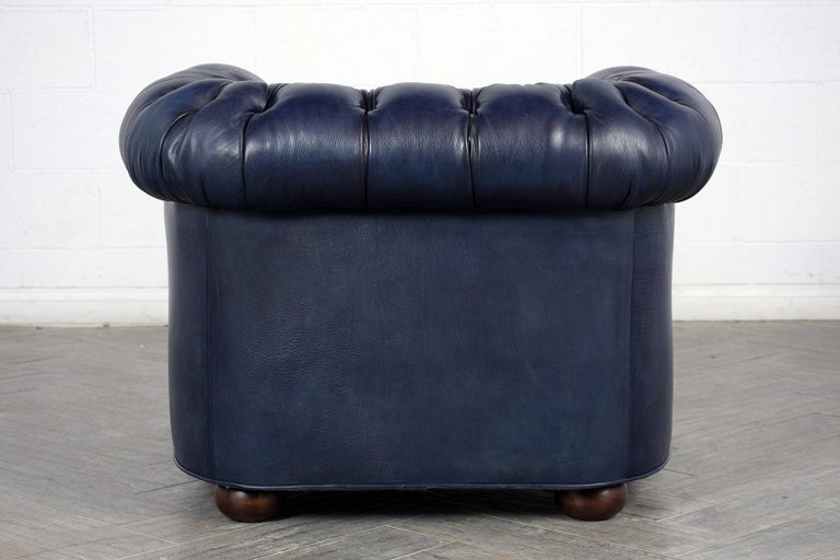 Late 20th Century Tufted English Chesterfield Leather Club Chair For Sale