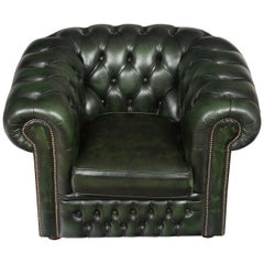 Tufted Green Leather Chesterfield Club Armchair