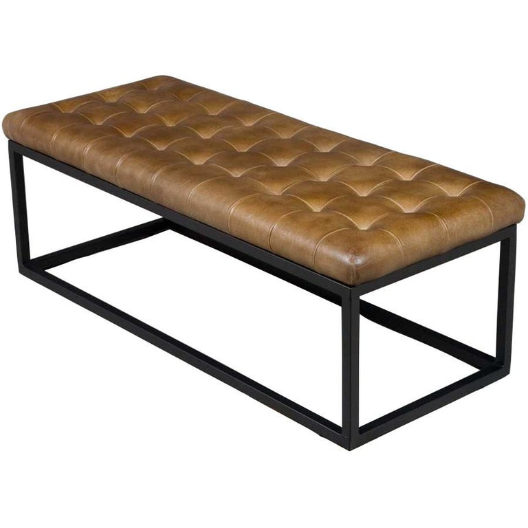 English Tufted Leather Bench Seat Ottoman on Metal Base For Sale