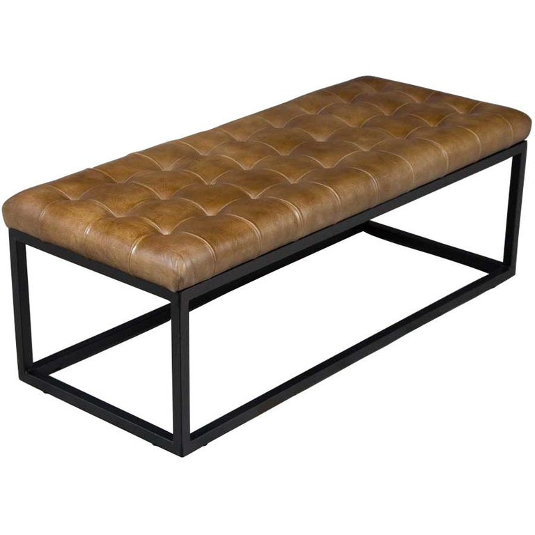 Tufted Leather Bench Seat Ottoman on Metal Base In New Condition For Sale In Atlanta, GA