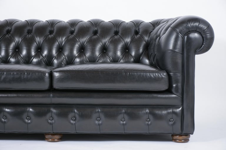 American Tufted Leather Chesterfield Sofa For Sale