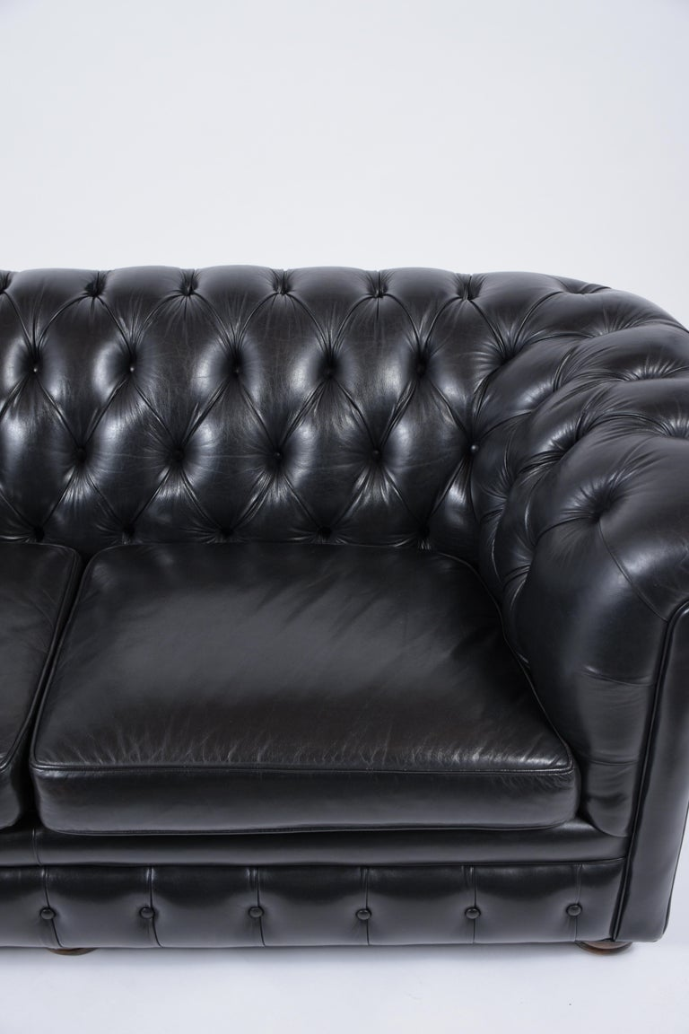Carved Tufted Leather Chesterfield Sofa For Sale