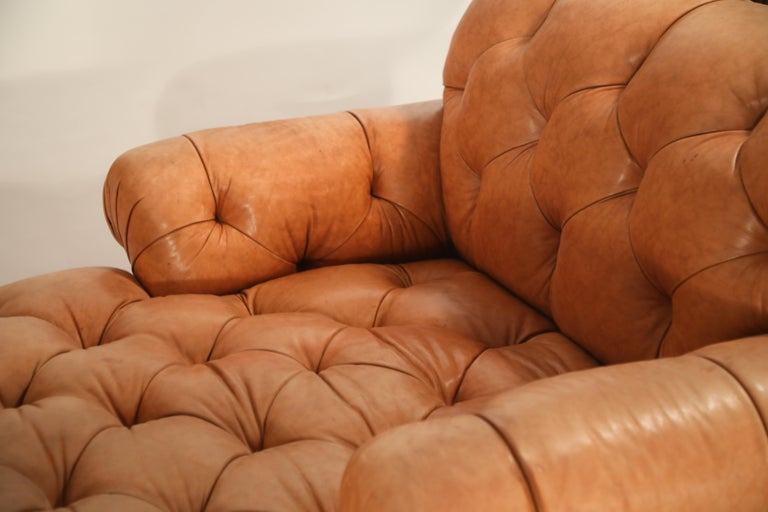Tufted Distressed Leather Ralph Lauren Chesterfield Styled Chaise Lounge Daybed For Sale 6