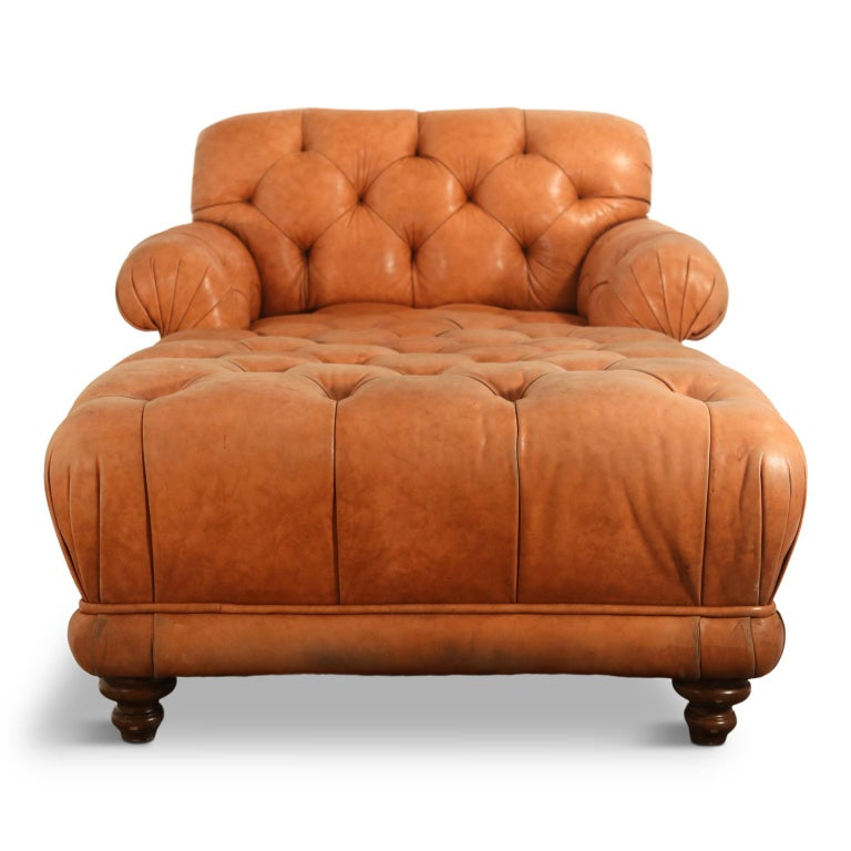 This impressively sized tufted leather daybed is large enough for two to snuggle and watch TV or a sunset, or for one to curl up and take a nap in. Or for a small apartment or studio, consider making this your bed!  Featuring Ralph Lauren