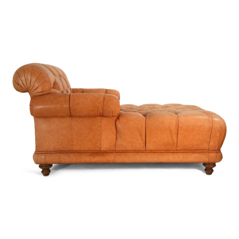 American Tufted Distressed Leather Ralph Lauren Chesterfield Styled Chaise Lounge Daybed For Sale
