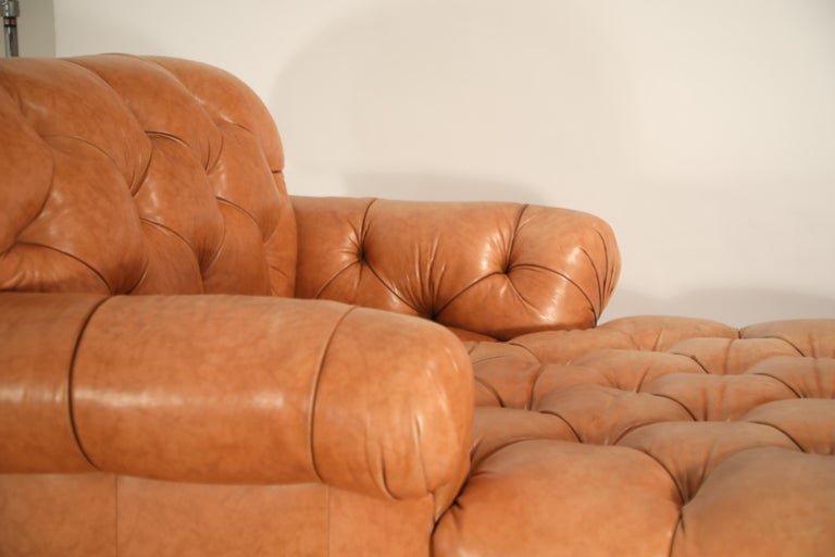 Contemporary Tufted Distressed Leather Ralph Lauren Chesterfield Styled Chaise Lounge Daybed For Sale