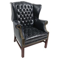 Tufted Leather Chippendale Style Wing Chair