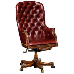 Tufted Leather Mahogany Desk Chair