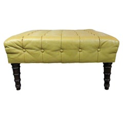 Tufted Leather Ottoman Designed by Edward Wormley for Dunbar