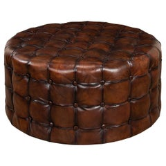 Tufted Leather Round Ottoman