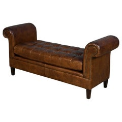 Tufted Leather Scroll Arm Window Bench