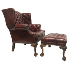 Tufted Leather Wingback Chair with Matching Ottoman