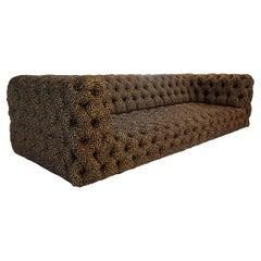 Tufted Leopard Print Sofa