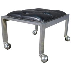 Tufted Rolling Stool