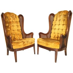Tufted Velvet Cane Wingback Chairs by Lewittes