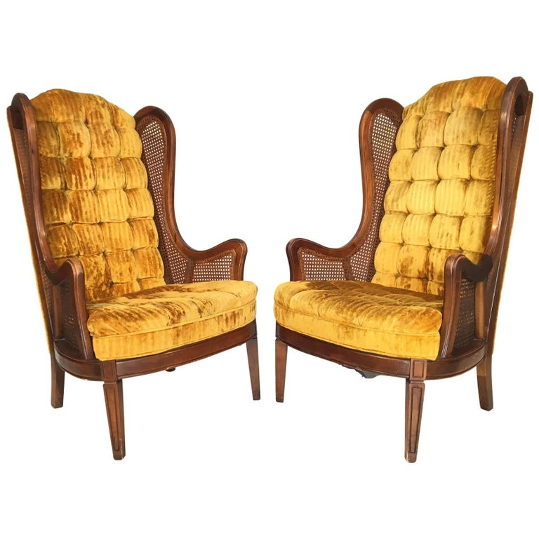 Tufted Velvet Cane Wingback Chairs By Lewittes For Sale At