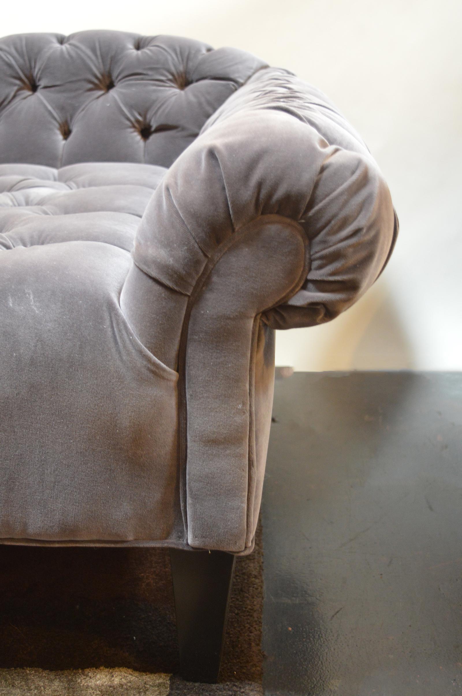 Tufted Velvet Chaise Longue At 1stdibs