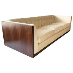 Tufted Velvet Milo Baughman Style Rosewood Case Sofa
