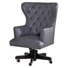 Tufted Wheeled Gray Armchair