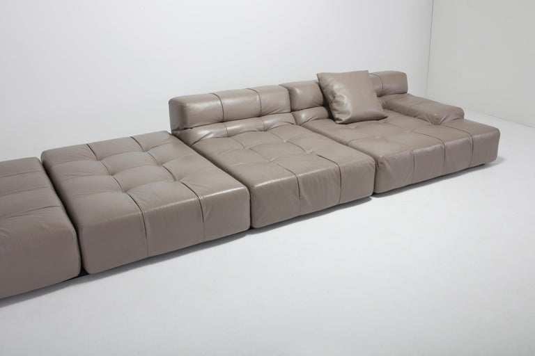Tufty Time B&B Italia Taupe Leather Sectional Sofa by Patricia Urquiola For Sale 4