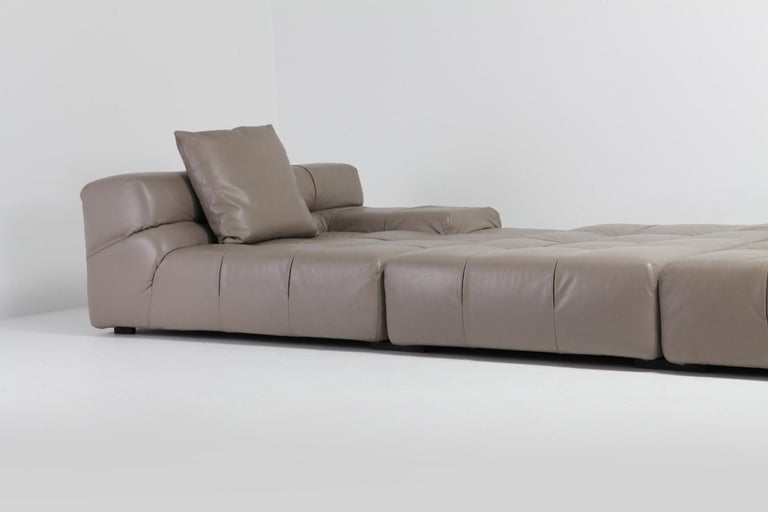 Tufty Time B&B Italia Taupe Leather Sectional Sofa by Patricia Urquiola For Sale 5