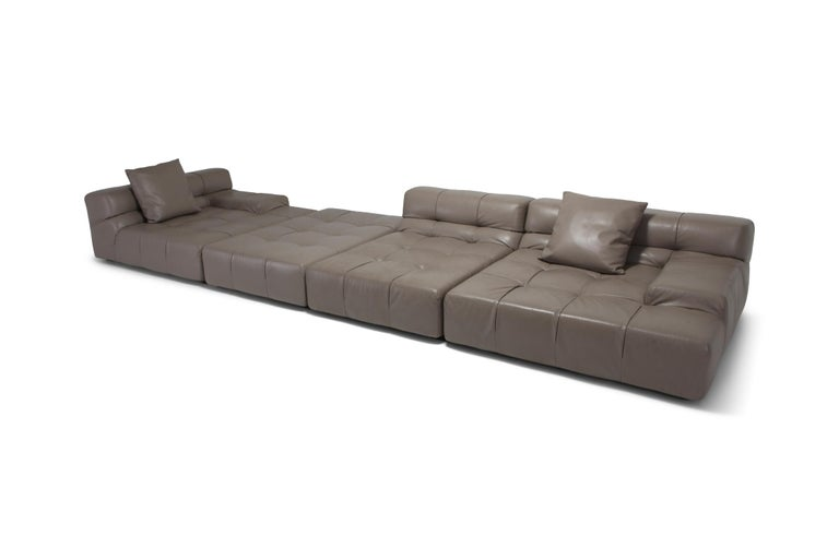 Contemporary modular sofa designed by Patricia Urquiola for BeB Italia in taupe colored leather.