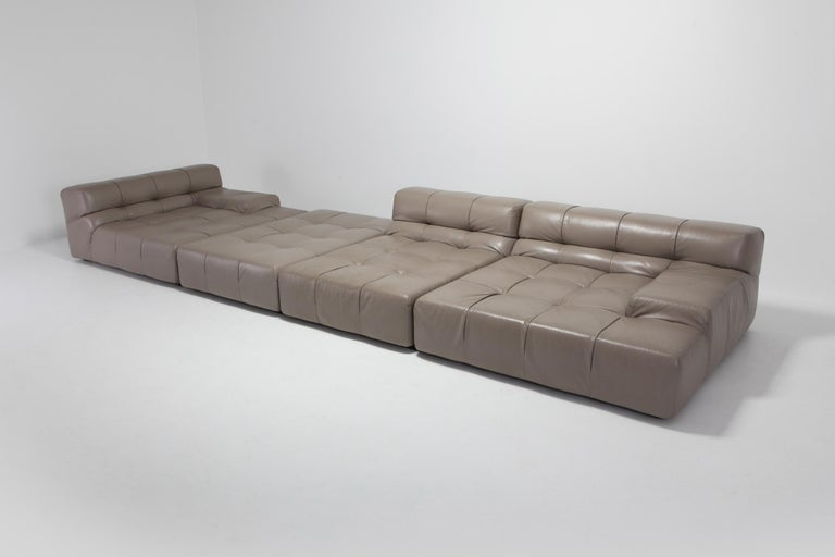 Other Tufty Time B&B Italia Taupe Leather Sectional Sofa by Patricia Urquiola For Sale