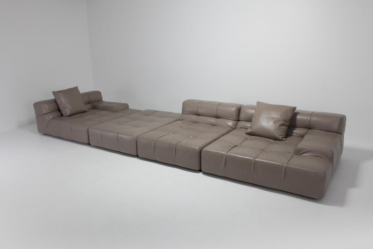 European Tufty Time B&B Italia Taupe Leather Sectional Sofa by Patricia Urquiola For Sale