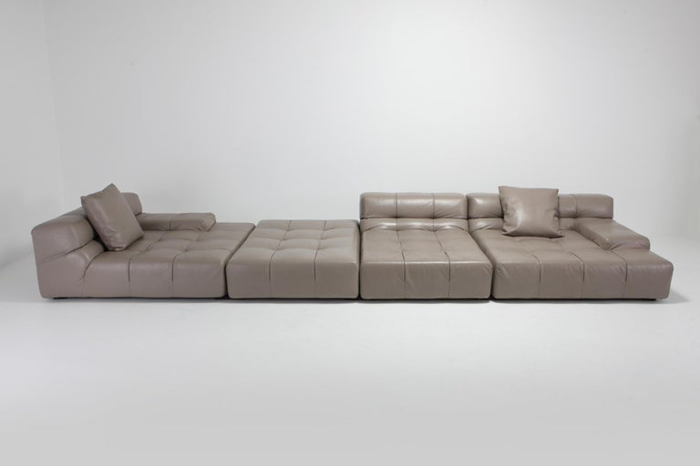 Contemporary Tufty Time B&B Italia Taupe Leather Sectional Sofa by Patricia Urquiola For Sale