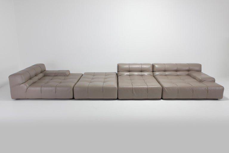 Tufty Time B&B Italia Taupe Leather Sectional Sofa by Patricia Urquiola For Sale 1