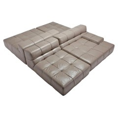 Tufty Time B&B Italia Taupe Leather Sectional Sofa by Patricia Urquiola