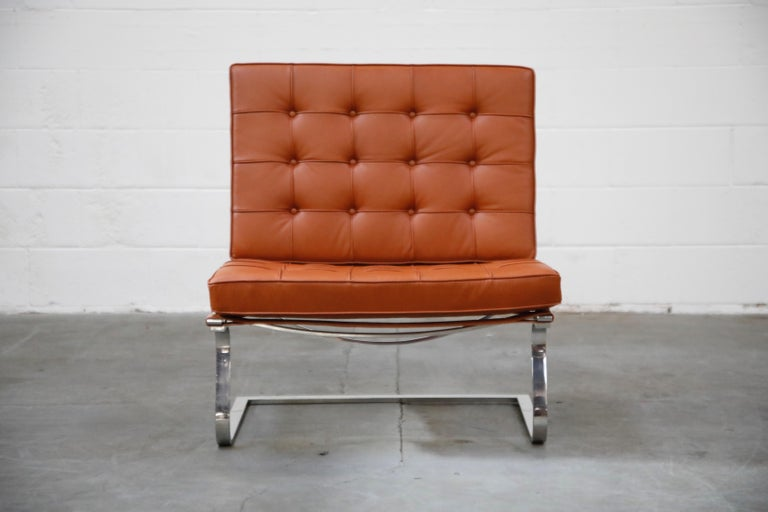 This rare and spectacular 'Tugendhat' lounge chair, Model MR70, by Ludwig Mies van der Rohe for Knoll Associates, circa 1960, is signed with original Knoll Associates label under the seat cushion. This fantastic cantilevered lounge chair is similar