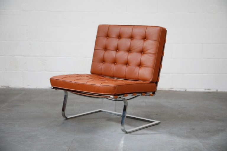 Mid-Century Modern Tugendhat Lounge Chair by Mies van der Rohe for Knoll Associates, 1960s, Signed For Sale