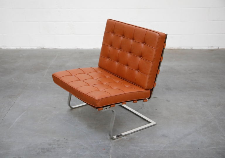 American Tugendhat Lounge Chair by Mies van der Rohe for Knoll Associates, 1960s, Signed For Sale