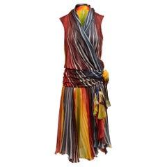 Tuleh Red & Multicolor Sleeveless Silk Rainbow Dress