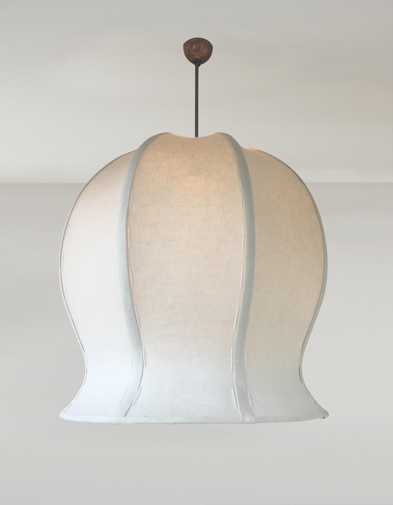 Inspired by nature, this original sculptural, handstitched linen, double shaded or linen diffused pendant lamp is a refined example of 21st century organic design. In either variation, Tulip pendant 520 provides diffused light at useful light levels