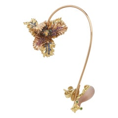 Tulip and Slug Ear Cuff with Pink and Blue Sapphires Amethyst Opals Tsavorite