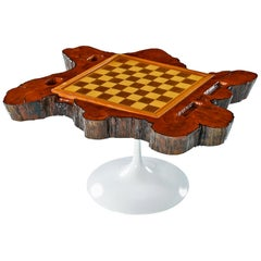 Tulip Base Chess and Backgammon Board Cypress Root Live Edge End Table