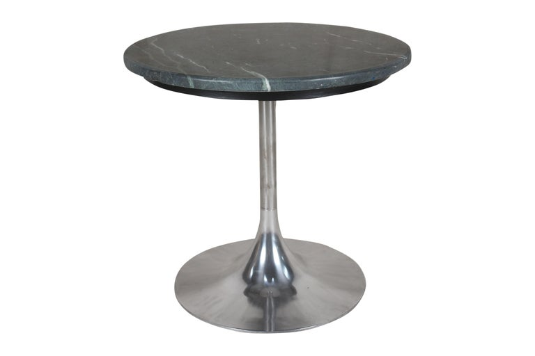Two pieces to use as side or end tables or as a coffee table, featuring a chrome tulip or trumpet base. Green marble tops with lovely matrix. Priced individually since you may not need a pair. Mid-Century Modern.